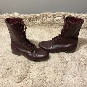 Charlotte Russe Red Brown Combat Boots Sz 7